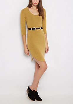 Mustard Double Buckled Shirttail Dress