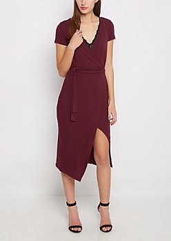 Burgundy Ribbed Asymmetrical Hem Wrap Dress