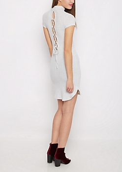 Gray Lace-Up Back Ribbed Sweater Dress