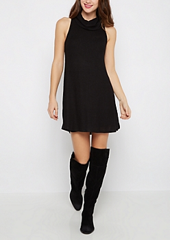 Black Cowl Neck Ribbed Swing Dress