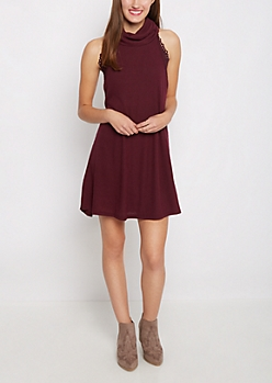 Purple Cowl Neck Ribbed Swing Dress