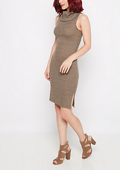 Taupe Marled Cowl Neck Dress