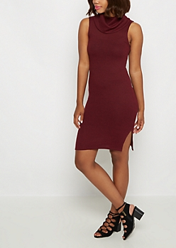 Burgundy Marled Cowl Neck Dress