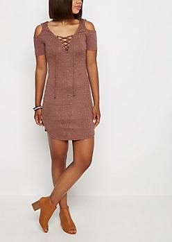 Mauve Lace-Up Rib Knit Dress