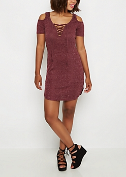 Burgundy Lace-Up Rib Knit Dress