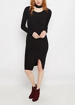 Black Slit Bodycon Dress
