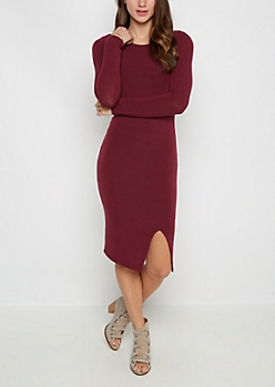 Burgundy Slit Bodycon Dress
