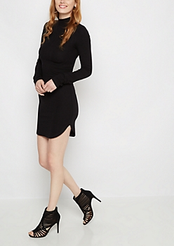 Black Ribbed Mock Neck Dress