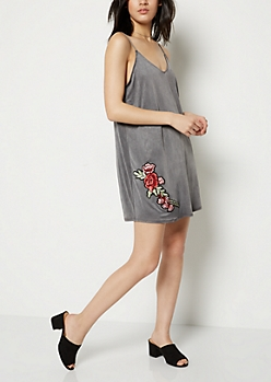 Charcoal Gray Floral Patched Slip Dress