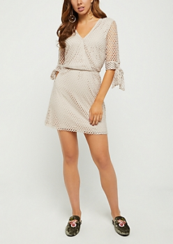 Nude Surplice Mesh Skater Dress
