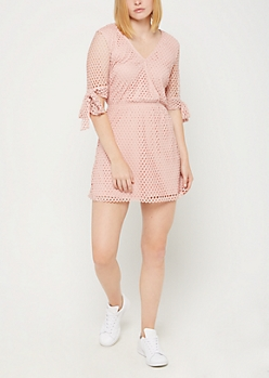 Pink Surplice Mesh Skater Dress