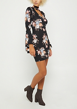Black Floral Keyhole Bodycon Dress