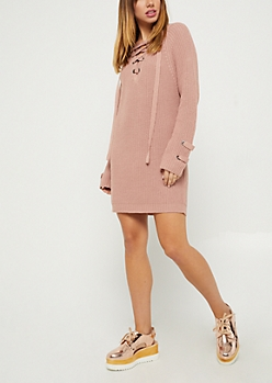 Pink Lace Up Sweater Dress