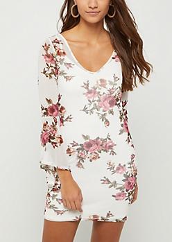 Ivory Floral Mesh Dress