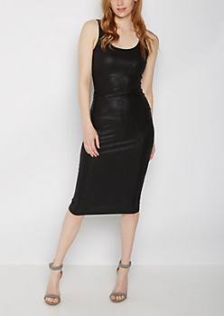 Black Shimmer Bodycon Tank Dress