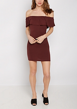 Dark Pink Flounce Off-Shoulder Bodycon Dress