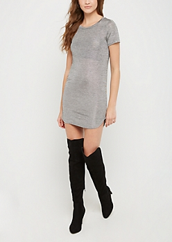 Metallic Shimmer T Shirt Dress