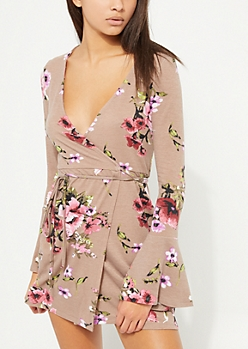 Taupe Floral Wrap Bell Sleeve Dress