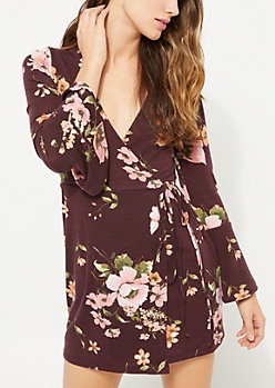 Burgundy Floral Wrap Bell Sleeve Dress