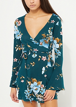 Teal Floral Wrap Bell Sleeve Dress