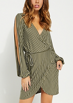 Olive Striped Split Sleeves Wrap Dress