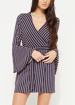 Blue Striped Bell Sleeve Wrap Dress