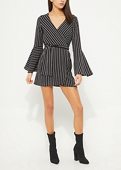 Black Striped Bell Sleeves Wrap Dress