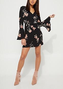Black Surplice Floral Wrap Dress