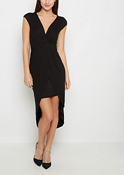 Black Knotted Front Cap Sleeve Dress