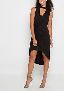 Black Knotted Front Mock Neck Dress