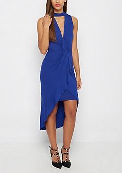 Blue Knotted Front Mock Neck Dress