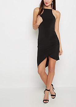 Black Ruched Side High Neck Dress