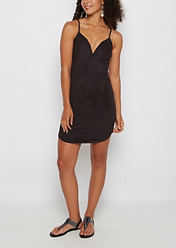 Black Faux Suede V-Neck Bodycon Dress