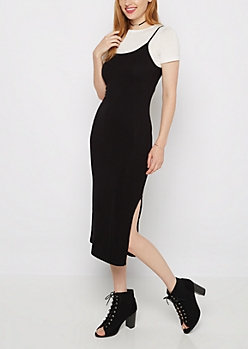 Ribbed Cami Dress & Crop Top 2fer