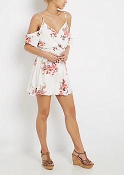 Rose Ruffled Gauze Cold Shoulder Dress