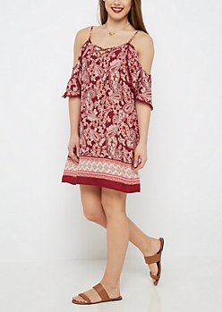 Burgundy Paisley Cold Shoulder Dress