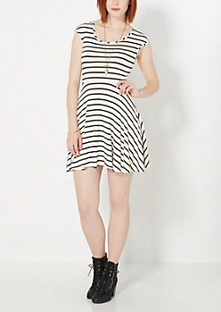 Black Striped Ruched Skater Dress