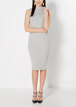 Gray Mock Neck Bodycon Dress