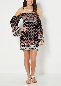 Bohemian Smocked Off-Shoulder Dress