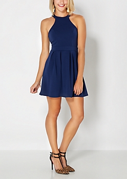 Navy Halter Skater Dress