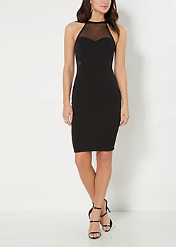 Mesh Illusion Bodycon Dress