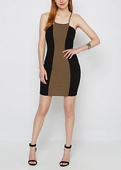 Olive Stripe Textured Bodycon Dress