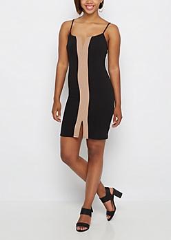 Taupe Stripe Bodycon Dress