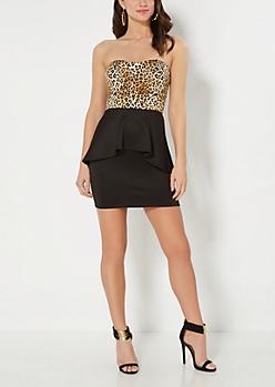 Leopard Peplum Bodycon Dress
