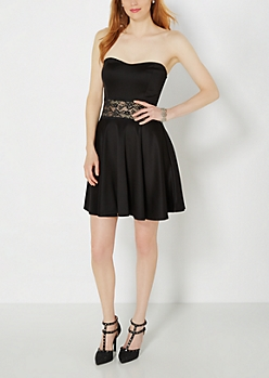 Sweetheart Illusion Skater Dress
