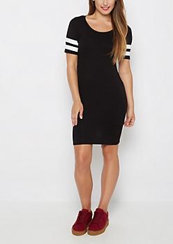 Black Athletic Striped Bodycon Dress