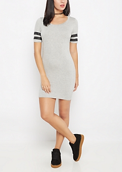 Gray Athletic Striped Bodycon Dress
