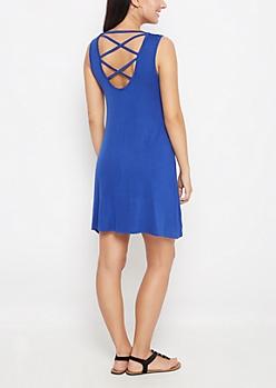 Blue Lattice Back Swing Dress