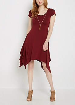 Burgundy Sharkbite Dress & Tassel Necklace