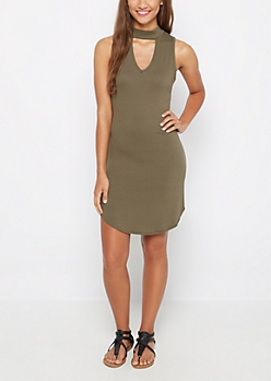 Olive Keyhole High Neck Dress